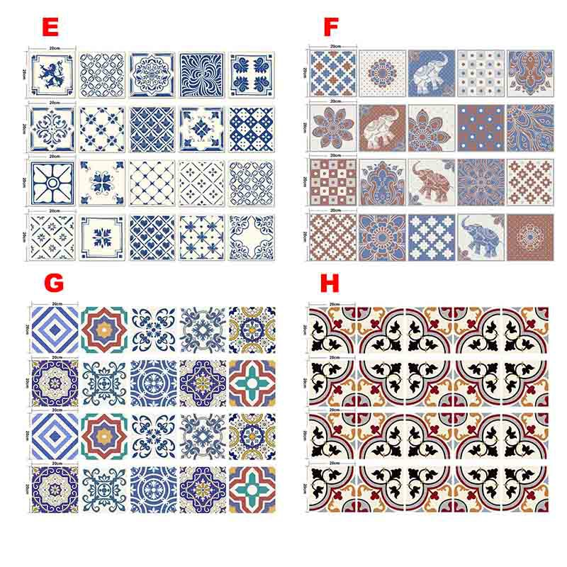 Backsplash Tile Stickers 20 Pcs Set Traditional Talavera Tiles Stickers Bathroom & Kitchen Tile Decals Easy To Apply Just Peel