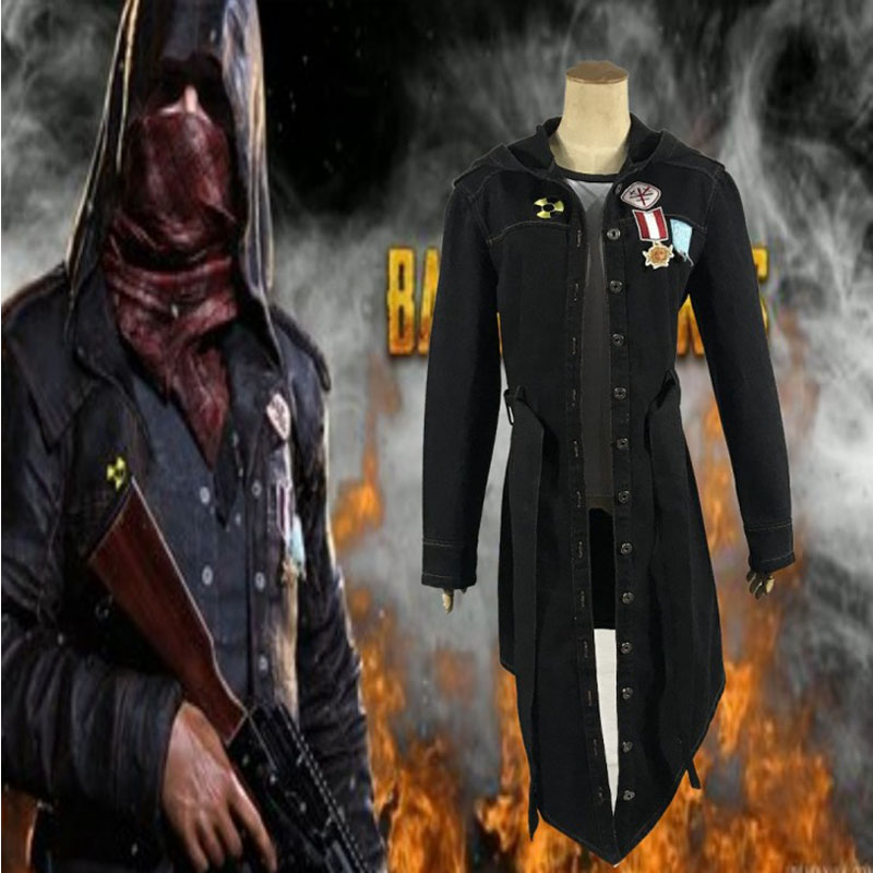 Hot Survival Game PUBG Long Sleeve Denim Fabric Coat Carnival Party Counter Strike Cosplay Costume
