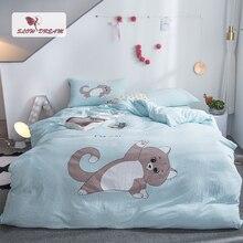 SlowDream Bedding Set Bed Linen Cotton Bedspread Double Queen King Bedclothes Duvet Cover Blue Cartoon Cat Adult Flat Sheet