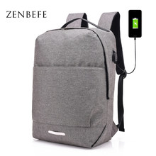 ZENBEFE New Simple Backpacks USB Charging School Bag For Men Travel Rucksack Student Bookbags Laptop Backpack For 15 Inch Bags(China)