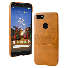 For Google Pixel 3a 3a XL Case Retro Calf Grain PU Leather Slim PC Hard Cover For Google Pixel 3a XL Case with 2 Card Slots цена