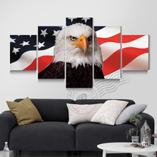 5 Panel American Eagles USA Flag Canvas Oil Painting Wall Art Modern Prints On Pictures For Living Room Unframed BR0091