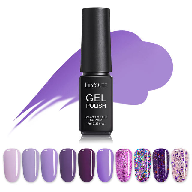 LILYCUTE Purple Series UV Gel LED Pure Nail Color