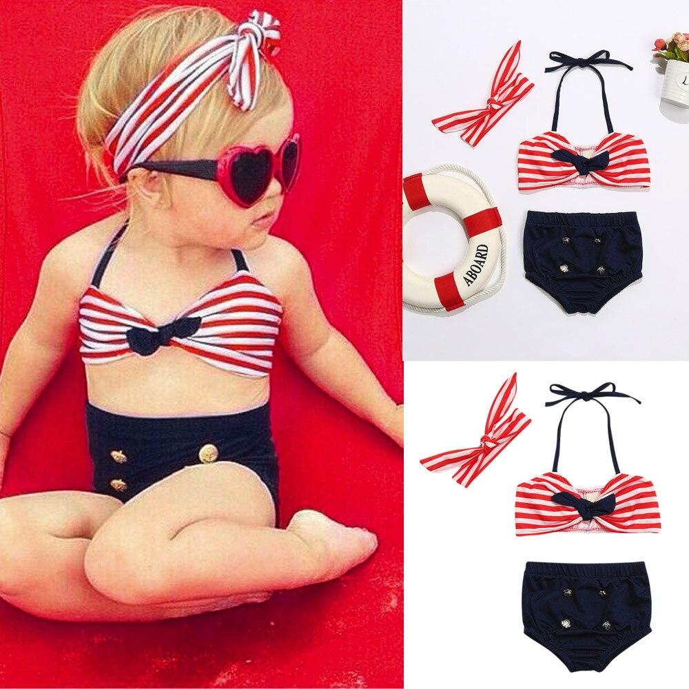 ❤️️ Mealeaf ❤️️ 3Pcs Infant Baby Girls Swimwear Straps Dot Swimsuit Bathing Bikini Set Outfits6M-24M