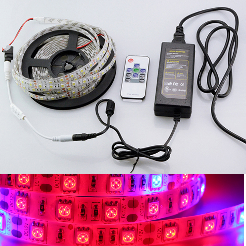 5050 Grow LED Strip Tape 5:1 5 Red 1 Blue Aquarium Greenhouse Hydroponic Plant Growing Lamp 60led/m + RF remote + DC 12V Power zdm 5m 72w led plant light strip 300pcs 5050 5 red 1 blue group dc 12v