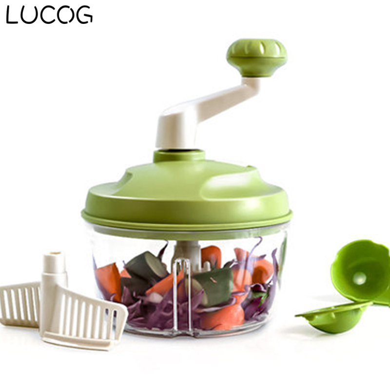 цена LUCOG Manual Kitchen Meat Grinder Stainless Steel Blade Food Processor Meat Mincer Grinders Vegetable Cutter