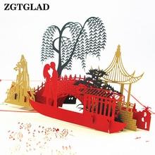 ZGTGLAD 3D Pop Up Lovers Gift Cards Laser Cut Blank Vintage Invitation Mariage Love Letters Messages