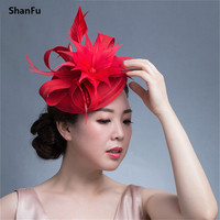 ShanFu Fashion Pink Ladies Fascinator Headbands Feather Fascinators with Clip Headband for Women Wedding Hat Hair Accessories