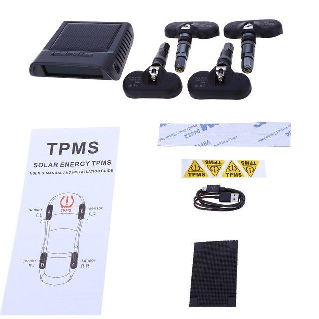 TP-810 Давления в Шинах Сигнализация Солнечной ИНДИКАТОР Питания TPMS Контроля Давления в Автомобильных Шин Интеллектуальная Система с 4 Внутренний Датчик