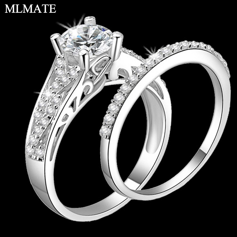 Women 2pcs Princess Cut Brand Jewelry 925 Sterling Silver Rings White Clear 5A CZ Stones Bridal Wedding Rings Set