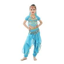 цены 2018 New Style 3-Piece Children Belly Dance Indian Costume Set Child Bollywood Dance Costumes Girls Performance Bellydance Wear