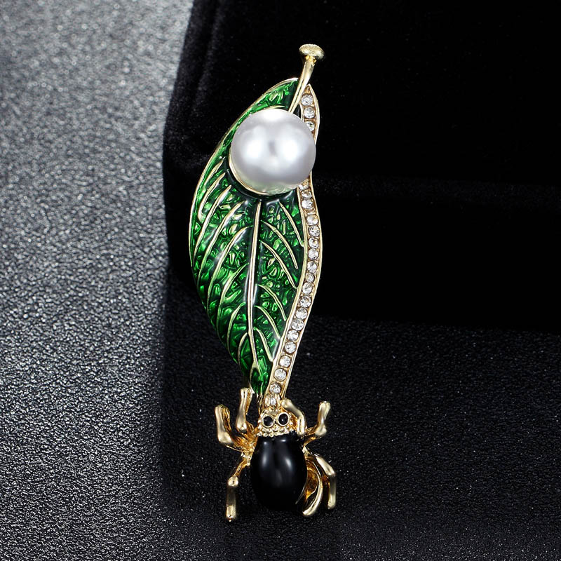 Analytical 2018 New Green Enamel Leafs Insect Brooches Jewelry Cartoon Animal Brooch Pins For Kids Hats Jewelry Imitation Pearl Brooch