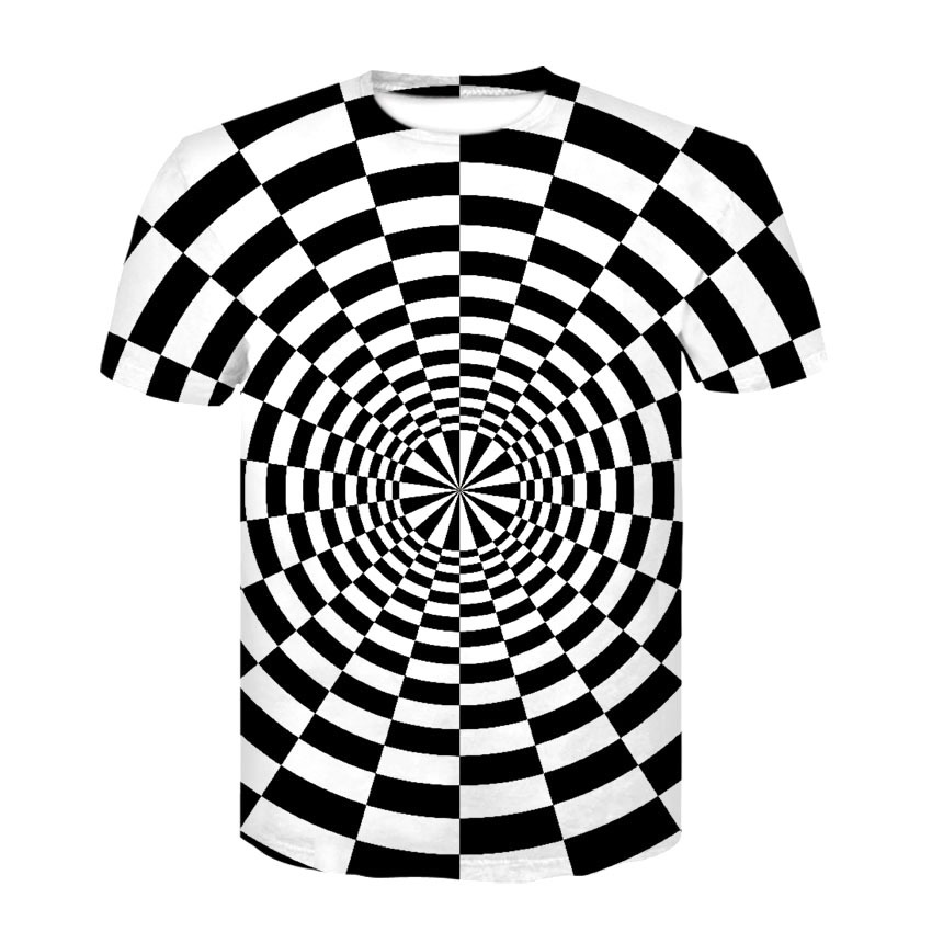 T Shirt 3D Men Women Fashion Print Black White Vertigo -8835