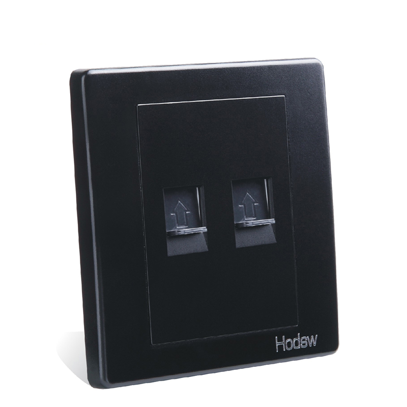 цена на Home Furnishing Wall Switch Socket, 86 Type Concealed Black Steel Frame, Network Telephone Socket, PC 220V 10A