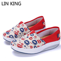 LIN KING New Women Casual Canvas Shoes british Style Flags Low Top Lazy Loafers Round Toe Wedge Heels Platform Swing Shoes