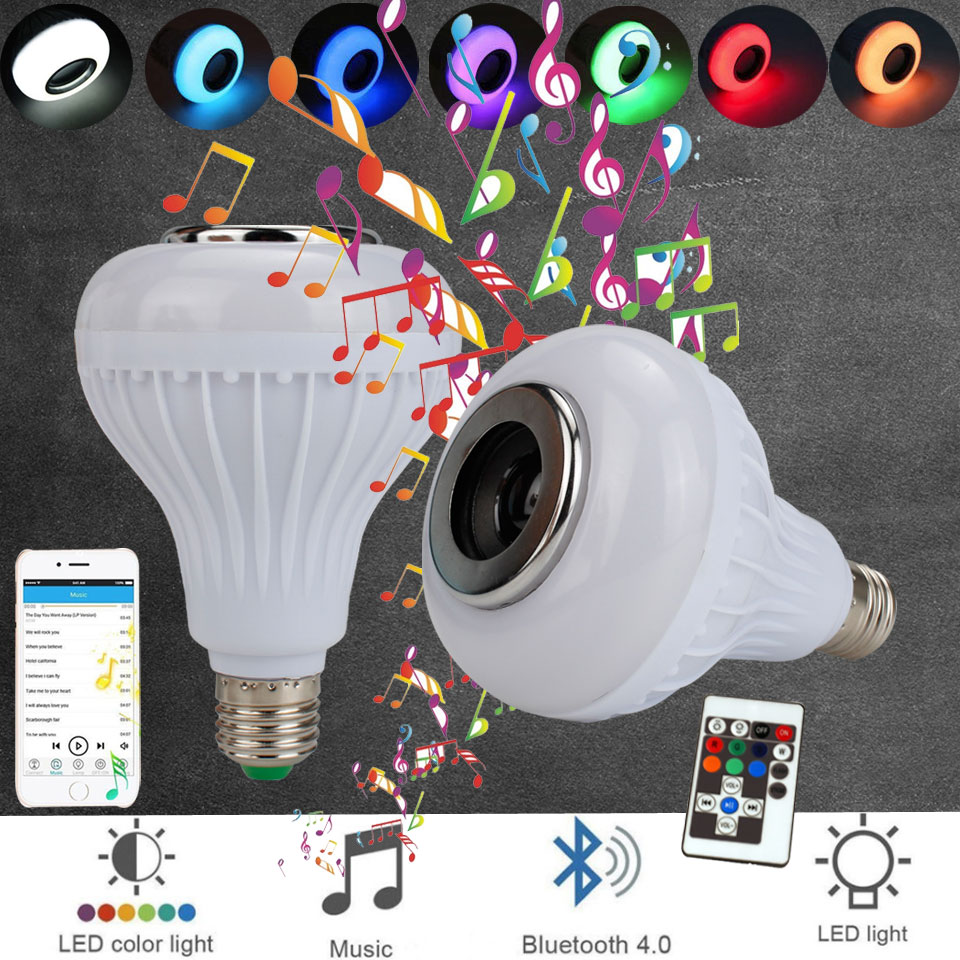 LED Light Bulb E27 led light bulb with Bluetooth Speaker RGB Changing Color Lamp Built-in Audio Speaker with Remote Controller