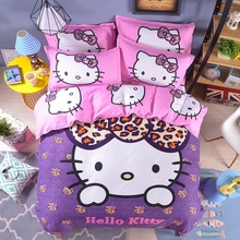 Free Shipping New Good Quality 3/4 pcs Hello Kitty Bedding Set Children Cotton Bed sheets Duvet Cover Bed sheet Pillowcase