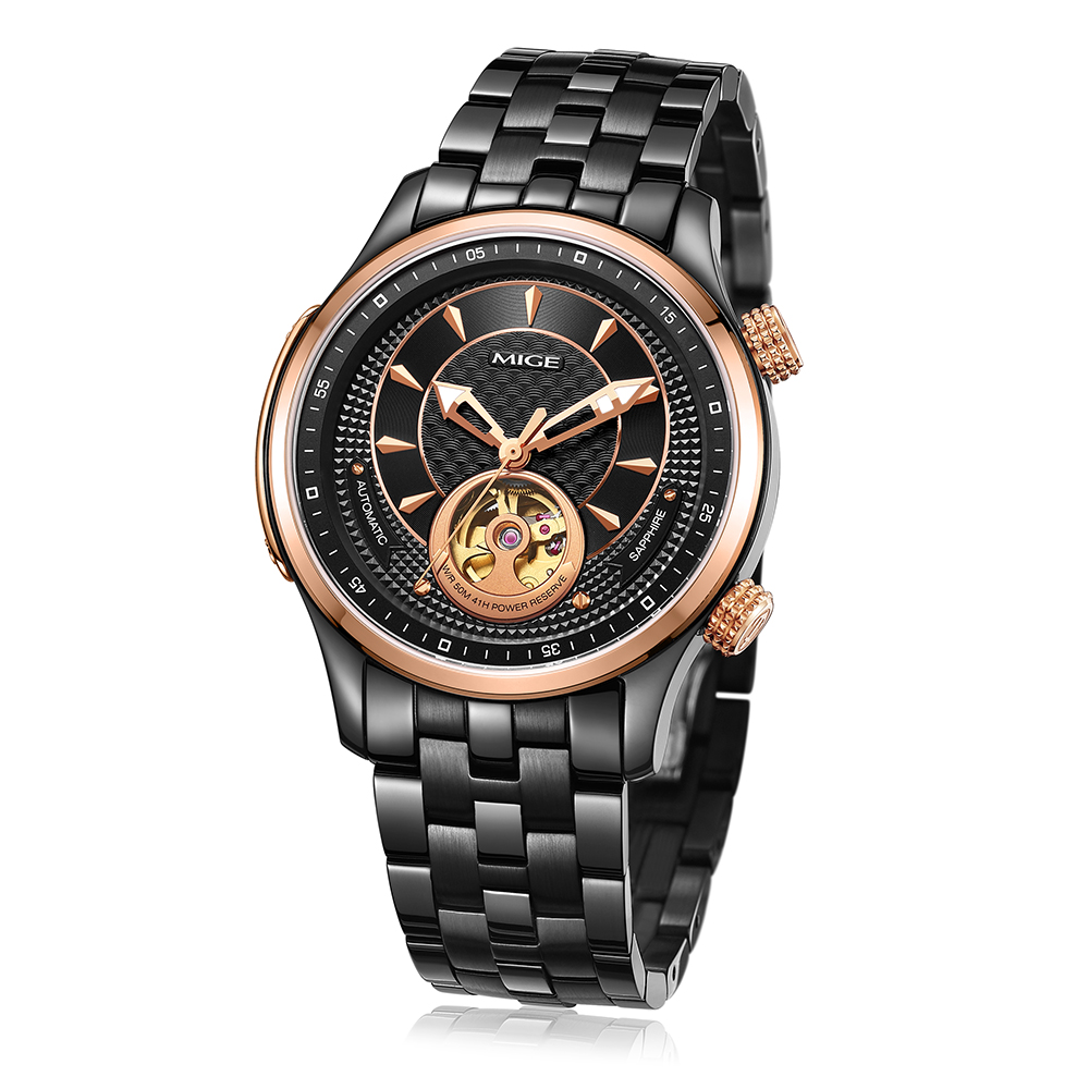 Mige 2018 New Top Luxury Brand Skeleton Mechanical Man Watch Rosegole - Men's Watches