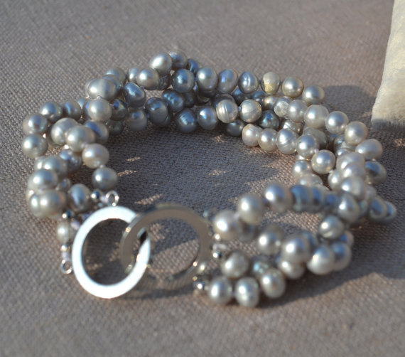 Perfect Pearl Jewellery,7.5inches 6-7mm Gray Potato Round Freshwater Pearl Bracelet