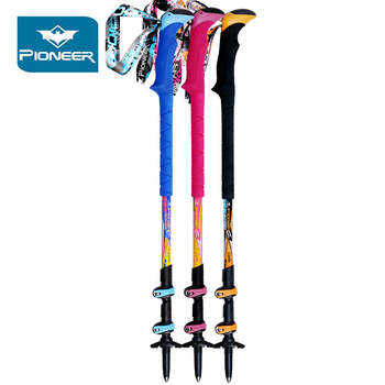 2 Piece Pioneer Hiking Poles Carbon fiber Nordic Walking Sticks Non-slip EVA foam handle Trekking Pole Walking Cane Camping Gear