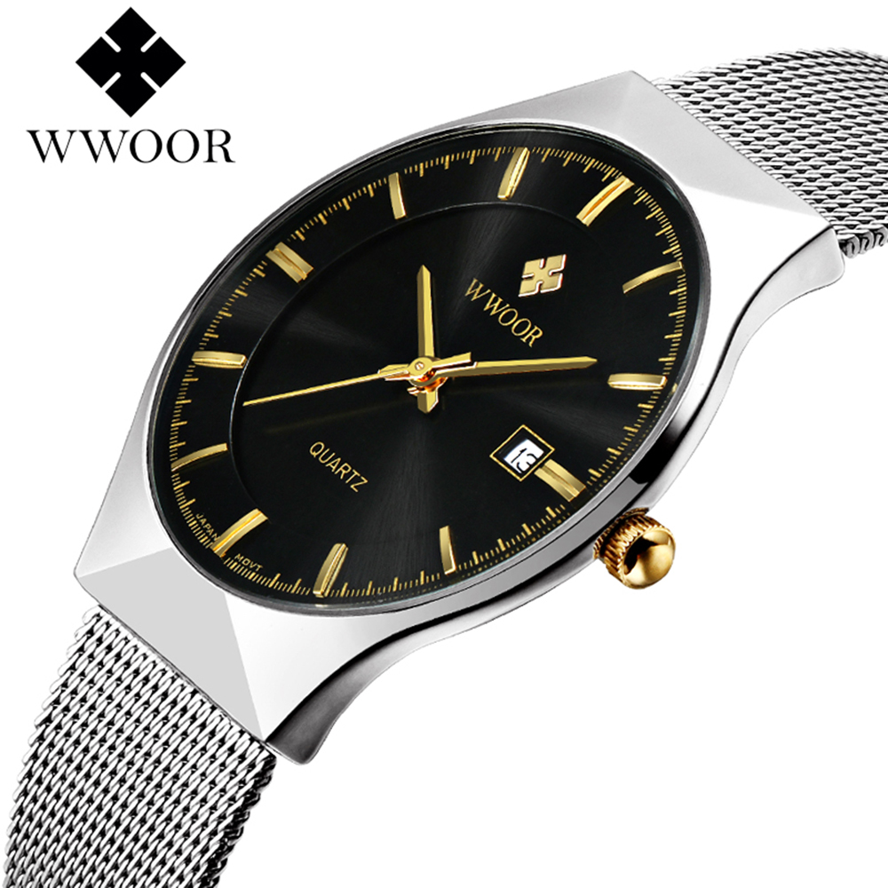 WWOOR Luxury Brand Watch Men Date Display Ultra Thin Stainless Steel Mesh Strap Quartz Business Mens Watches Fashion Clock Gift wwoor waterproof ultra thin date clock male stainess steel strap casual quartz watch men wrist sport watch 3 colors