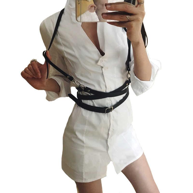 Nuovo sexy delle donne cinghie di Cuoio degli uomini sottile Del Corpo Bondage Cage Sculpting moda Punk Harness Cinghie In Vita Bretelle accessori Della Cinghia