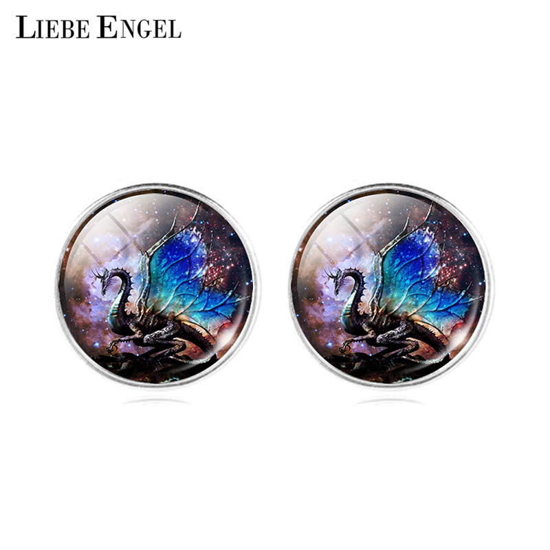 LIEBE ENGEL New Glass Jewelry Earrings Colorful dragon Wings Shiny Starry Sky Galaxy Fashion Crystal Cabochon Stud Earring
