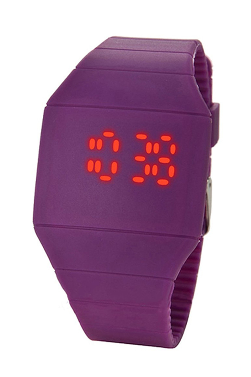 YCYS-Unisex Touch Digital Red Led Silicone Sports Wrist Watch Purple