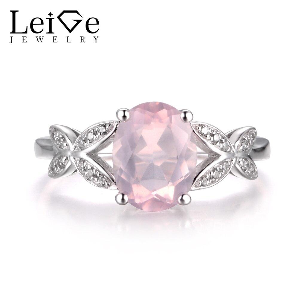 LeiGe bijoux naturel rose Quartz anneau promesse anneaux ovale coupe rose pierre gemme anneau 925 en argent Sterling forme papillon anneaux