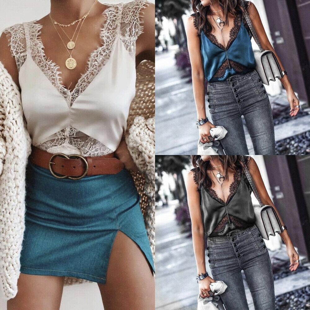Sexy Women Lace Strap Satin Patchwork V Neck Sleeveless  Tank Tops T-shirt Plus Size