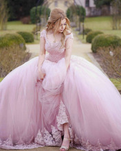 Stunning Pink Wedding Dress Plus Size Ball Gown Beads Lace Up Back Bridal Gown Capped Appliques Lace Sheer Scoop Bridal Gowns