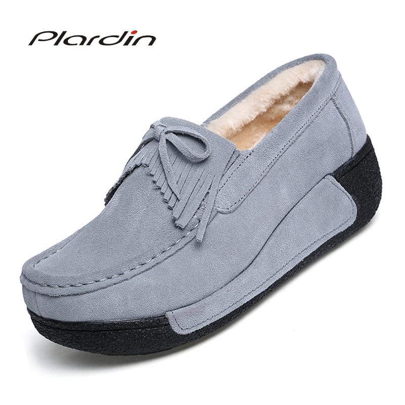 Plardin New Winter Women Flat Platform Shoes Genuine Leather Fringe Cotton Addition Ladies Flats Creepers Moccasins Oxford Shoes