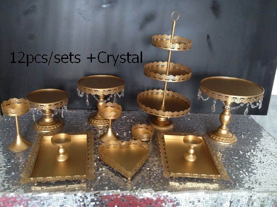 DHL Set of 12 pieces gold cake stand wedding cupcake stand set crystal candy bar