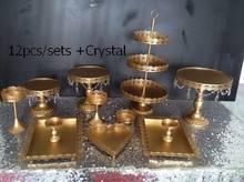 DHL Set von 12 stücke gold tortenständer hochzeit cupcake ständer set kristall candy bar dekoration kuchen werkzeuge backformen set