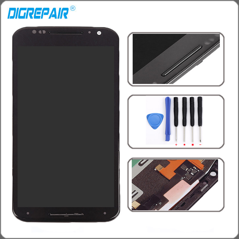 Black For Motorola Moto X2 Xt1092 Xt1095 Xt1097 LCD Display Touch Screen with Digitizer Bezel Frame