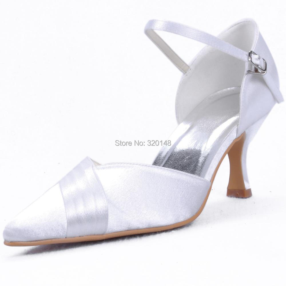 EP11012 Ivory White Woman shoes for wedding bridal Med heel pointed toe ankle strap satin ladies female women's prom party pumps 2017 new fashion spring ladies pointed toe shoes woman flats crystal diamond silver wedding shoes for bridal plus size hot sale