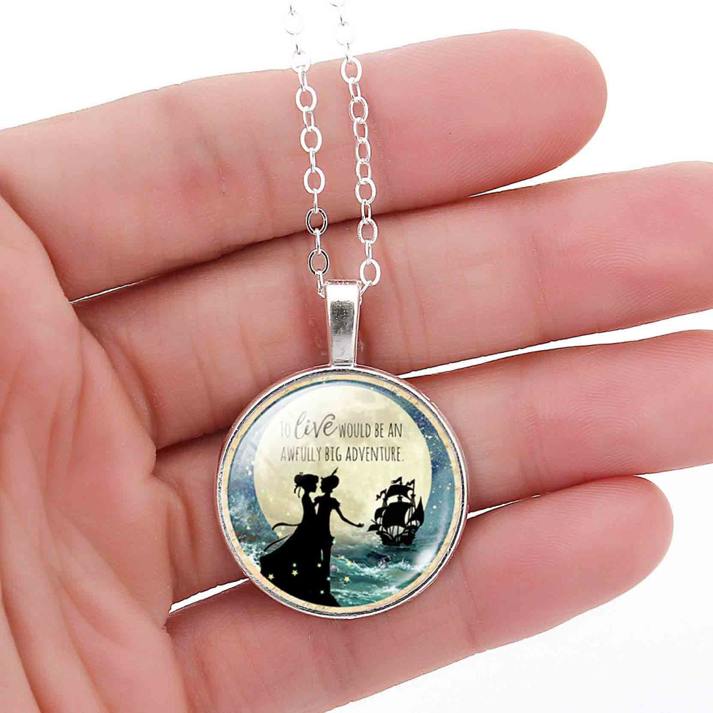 Charm Silver Color Vintage Chain Jewelry Peter Pan Necklace ...