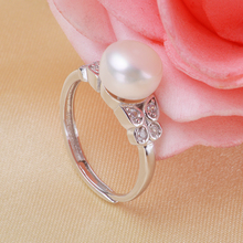 Fashion jewelry 925 sterling silver double butterfly 8-9mm Freshwater Pearl ring with zircon Wedding Rings best gifts for Women