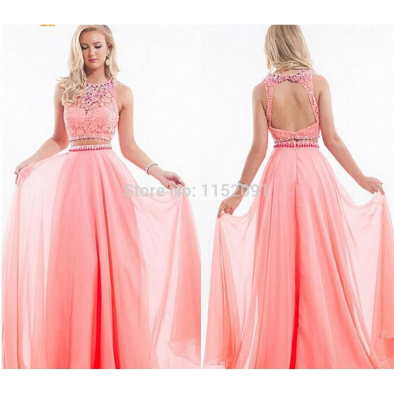 Two Pieces Long Prom Dresses 2015 Dancing Gowns Lace New