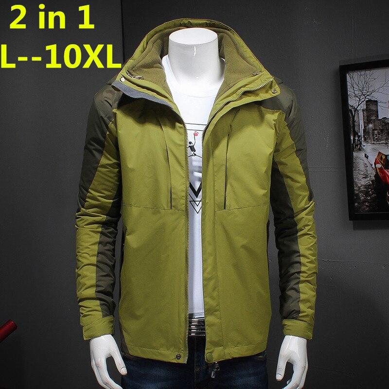 Плюс 10XL 8XL 6XL брендовая одежда 2018 Новый Стиль зимнее платье Для мужчин ветровка куртки и пальто 3 в 1 вкладыша и шляпа съемная