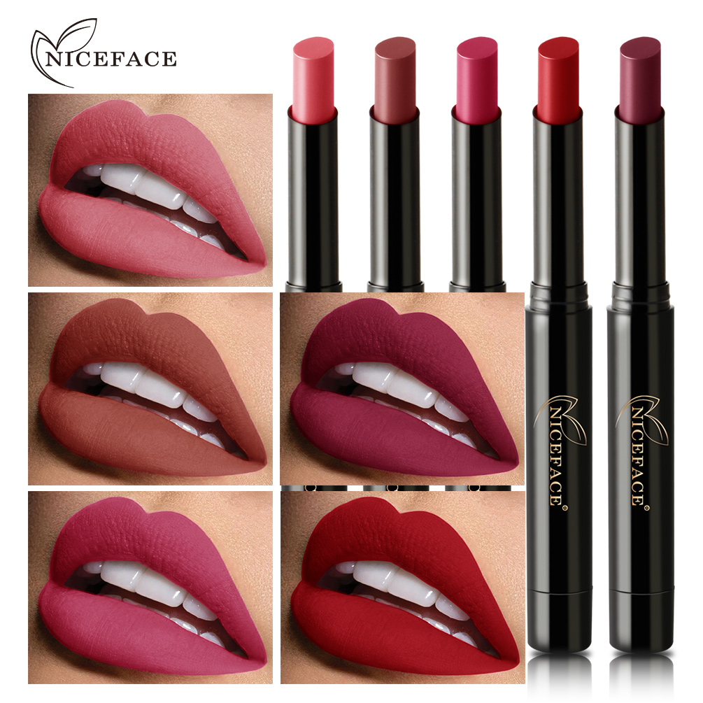 NICEFACE Matte Lipstick for Lips Waterproof Long Lasting Nourishing Lipstick Tint Nude Cosmetics Lipstic Makeup Set menow intimate lipstick lasting effect soft matte pink lipstick 5 set kiss hook pencil durable waterproof