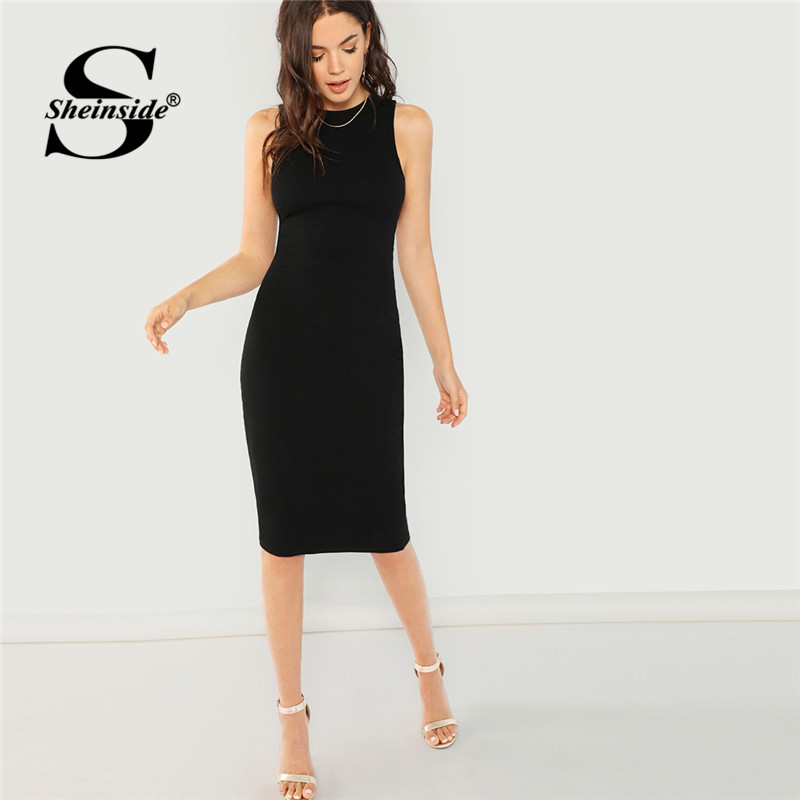 Sheinside Black Bodycon Elegant Office Ladies Work Wear Dress Women Solid Sleeveless Knee Length Pencil Slim Midi Party Dresses