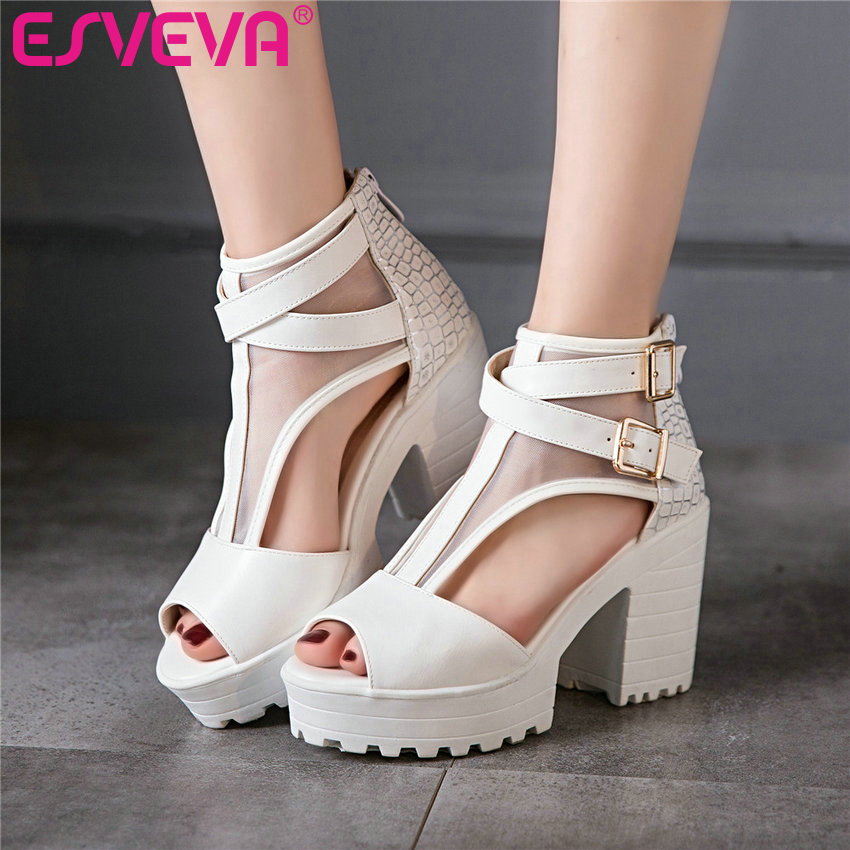ESVEVA 2017 Casual Summer Gladiator Square High Heels Sandals Platform Peep Toe Sandals Zip PU Woman Wedding Shoes Size 34-43 phyanic 2017 gladiator sandals gold silver shoes woman summer platform wedges glitters creepers casual women shoes phy3323