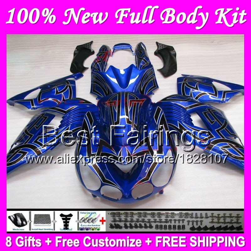 Fairing For Kawasaki Ninja Zx14r Black Flames Zx 14r 06 07 08 09 10 11 B25 Zx 14r 2006 2007 2008 2009 Blue Black 2011 Decal In Decals Stickers From