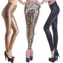 Leggings de cuero de moda para mujer, mallas elásticas de cintura alta, mallas de leopardo negras, azules y rojas, pantalones de piel sintética para mujer
