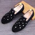 Заклепки Обувь Мужчины Мокасины Мода Замши Мужчины Обувь Повседневная Скольжения На Черном Желтый
