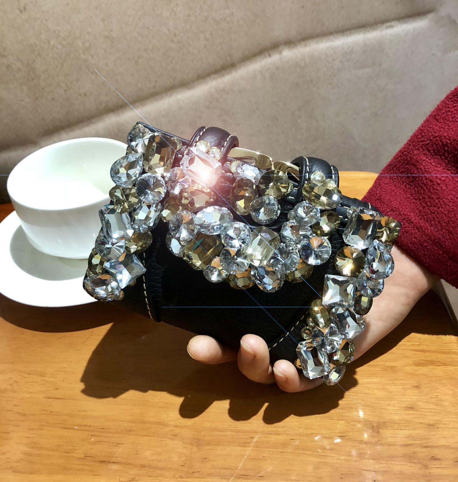New Genuine Leather Women's Wallet Fashion Diamond Female Snap Button Folding Rhinestone Short Wallet Coin Purse Cowhide Wallets