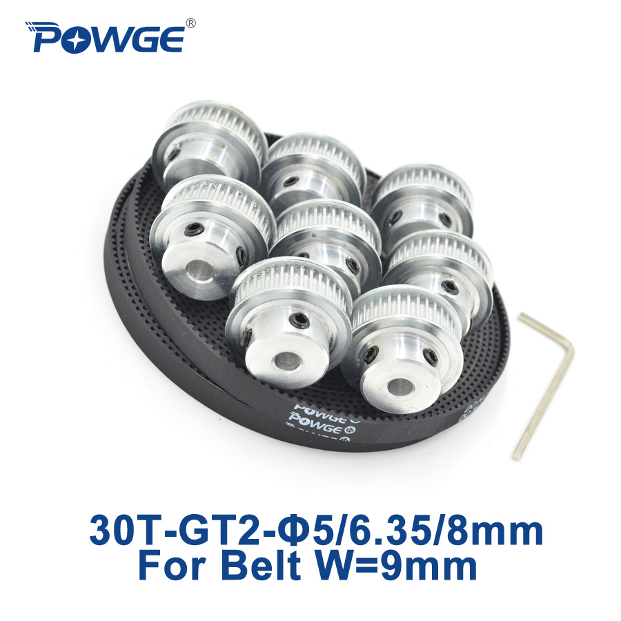 POWGE 8pcs 30 teeth GT2 Synchronous Pulley Bore 5mm 6.35mm 8mm + 5Meters width 9mm 2GT open Timing Belt 2GT pulley 30Teeth 30T купить в Москве 2019