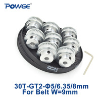 POWGE 8pcs 30 Teeth GT2 Synchronous Pulley Bore 5 8mm 5Meters Width 9mm GT2 Open Timing