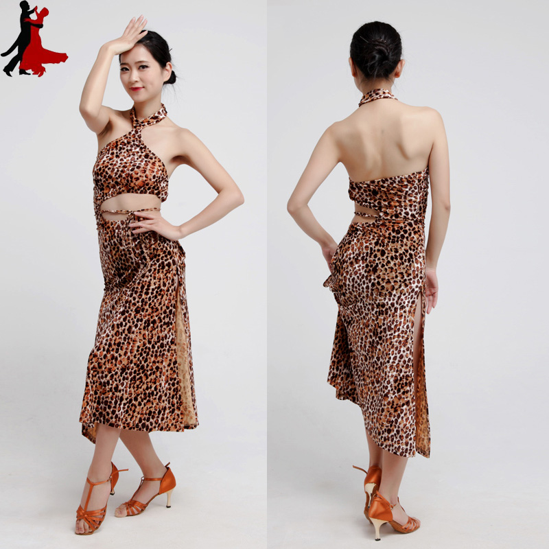 new sexy fashion Leopard backside Latin practice dress performance clothing women freeshipping hot sale
